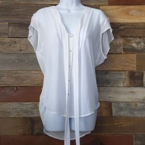 Guess cap sleeve sheer white button down blouse